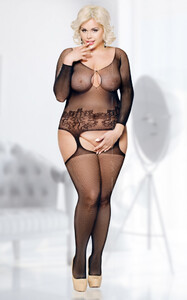 Kostium Ladybird Plus Size Bodystocking Black XL-XXXL 6241-11